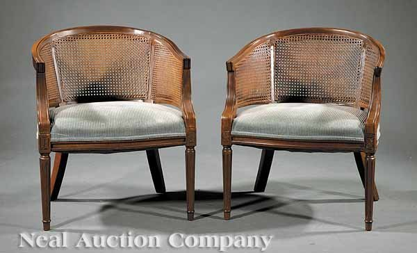 0022: Pair Regency-Style Fruitwood and Caned Bergeres