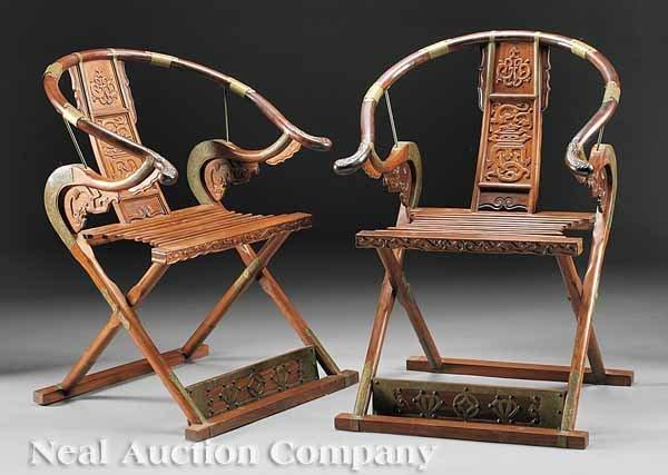 0031: Chinese Carved Folding Horseshoeback Armchairs