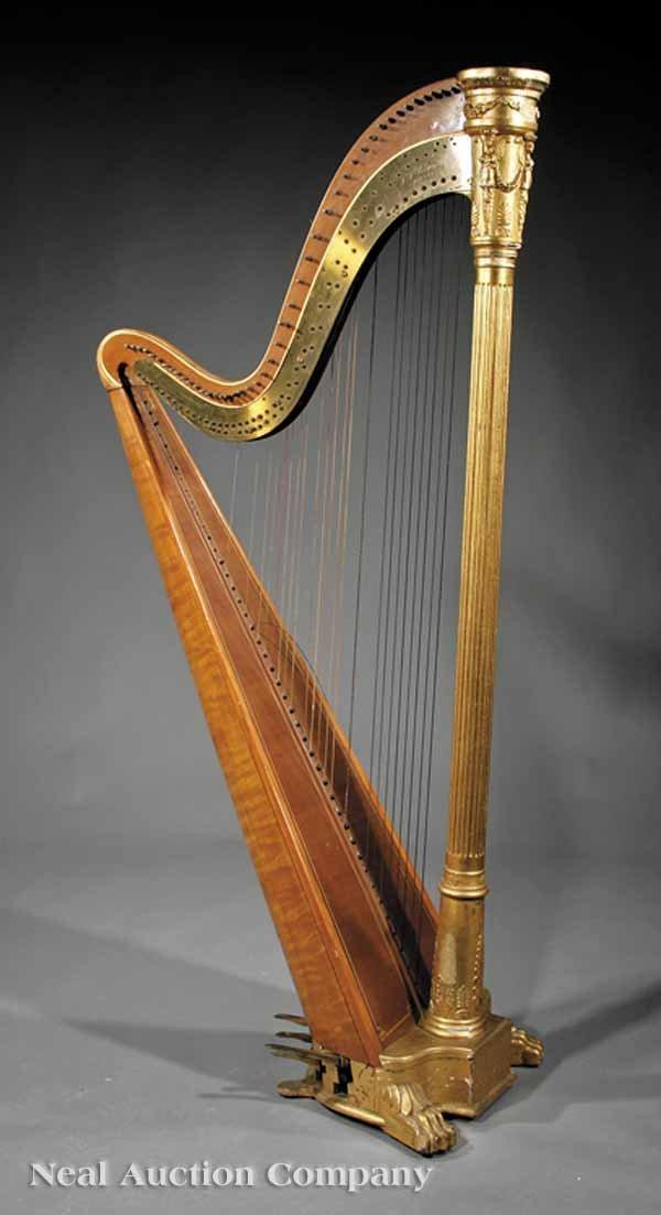 0125: J.F. Browne & Co. Giltwood Pedal Harp