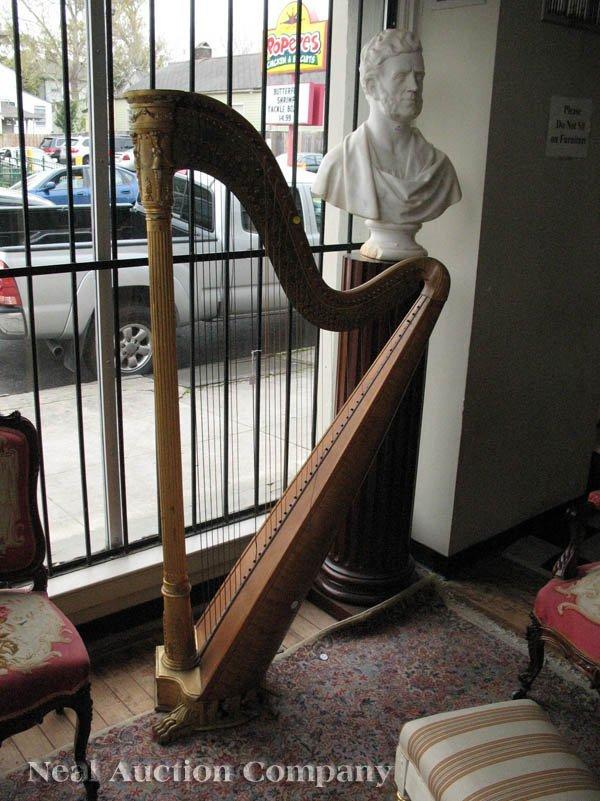 0125: J.F. Browne & Co. Giltwood Pedal Harp - 9