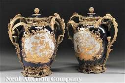 0229 Pair Gilt BronzeMounted Covered Urns