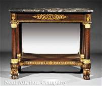 0239 BronzeMounted Faux Bois Mahogany Pier Table