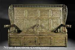 829 Welsh Carved and Limed Elm Hall Bench