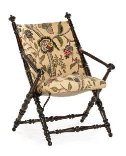 American Renaissance Ebonized Folding Chair