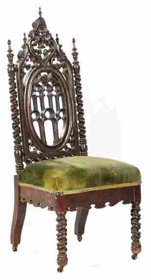 American Gothic Carved and Ebonized Side Chair