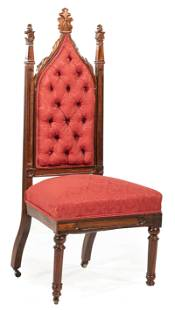 American Gothic Carved Oak Side Chair