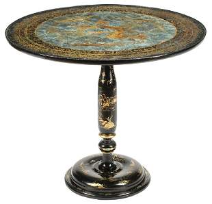 Chinoiserie Lacquered Table with Eglomise Top