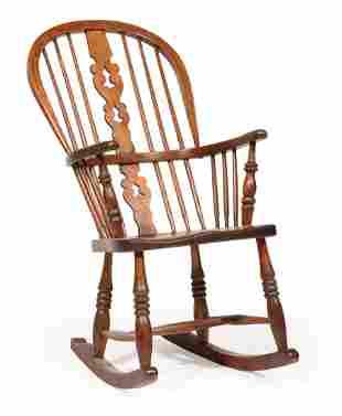 English Elm Hoop-Back Windsor Rocking Chair