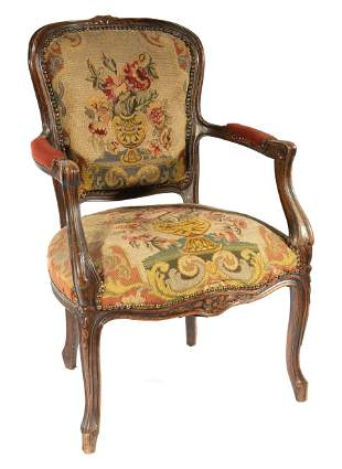 Louis XV-Style Carved Walnut Fauteuil