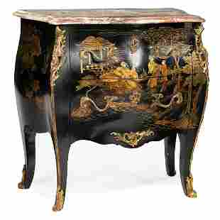 Bronze-Mounted Chinoiserie Bombe Chest