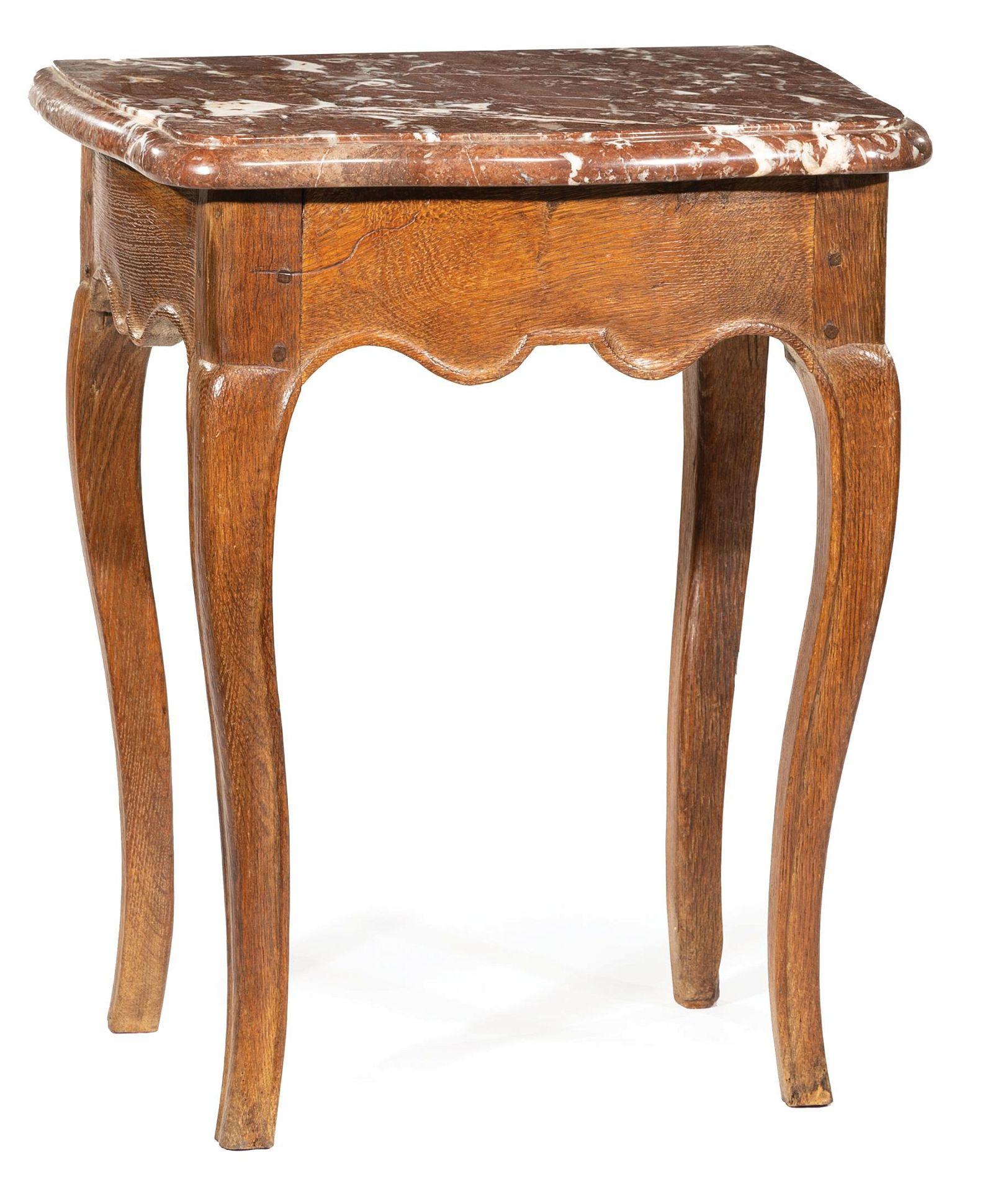 Provincial Louis XV-Style Oak Side Table