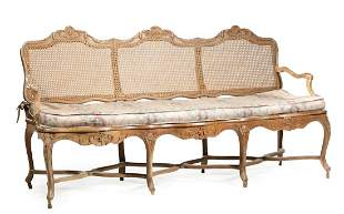 Provincial Louis XV-Style Caned Hall Bench