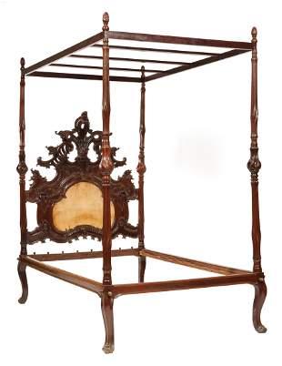 Italian Rococo Carved Mahogany Tester Bed