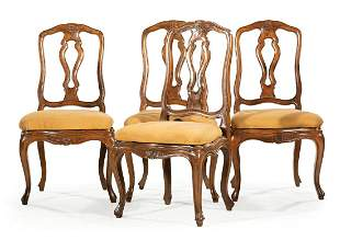 Provincial Louis XV-Style Fruitwood Dining Chairs