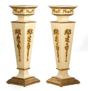 Crème Peinte and Parcel Gilt Pedestals