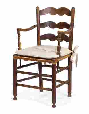 Provincial Fruitwood Ladder-Back Armchair