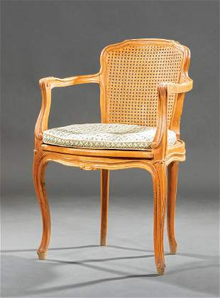 Louis XV-Style Carved Fruitwood Fauteuil