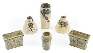 Six Weller Polychrome Pottery Vases