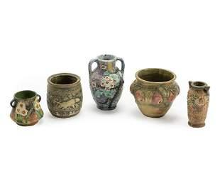 Five Weller Polychrome Art Pottery Vases