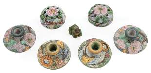 Seven Weller Polychrome Pottery Table Objects