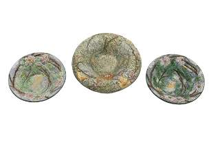 Three Weller Polychrome Pottery Bowls
