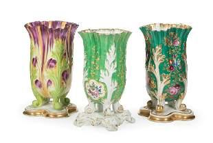 Paris Polychrome and Gilt Porcelain Flare Vases