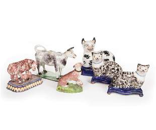 Six Staffordshire Pottery Figures of Animals