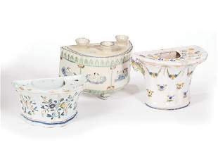 Three Continental Faience Demilune Bough Pots
