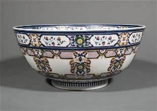 Polychrome Porcelain Punch Bowl