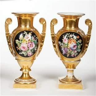 Paris Gilt and Polychrome Porcelain Urns