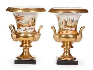 Pair of Paris Porcelain Campagna Urns