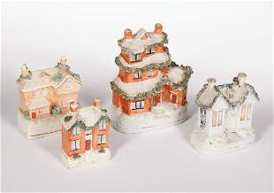 Four Staffordshire Pottery House Banks