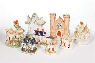 Eight Staffordshire Pottery Objects