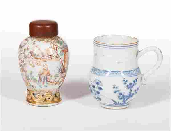 Chinese Export Porcelain Chocolate Cup/Tea Caddy