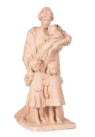 Painted Plaster Figural of Mother & Child
