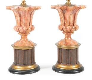 Pair of Faux Marble Urn-Form Lamps