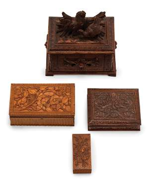 Four Continental Carved Wood Boxes
