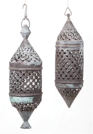 Two Pierced Bronze Hanging Lanterns