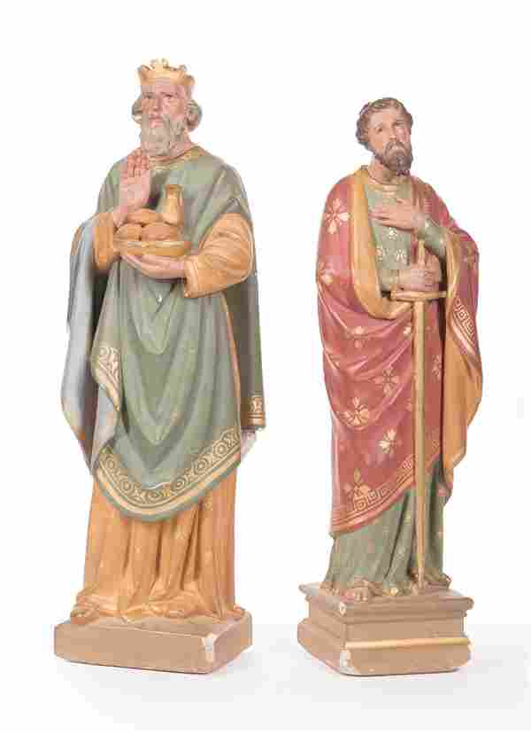 Two Painted Plaster Santos Figures