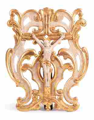 Continental Carved Giltwood Creme Peinte Crucifix