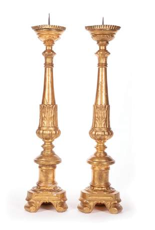 Continental Giltwood Prickets Candlesticks