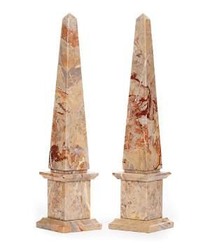 Continental Variegated Marble Obelisks