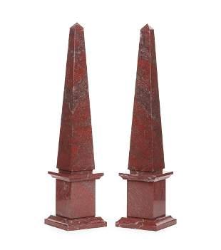 Continental Variegated Rouge Marble Obelisks