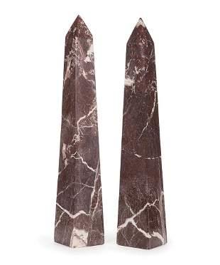 Continental Variegated Violet Marble Obelisks