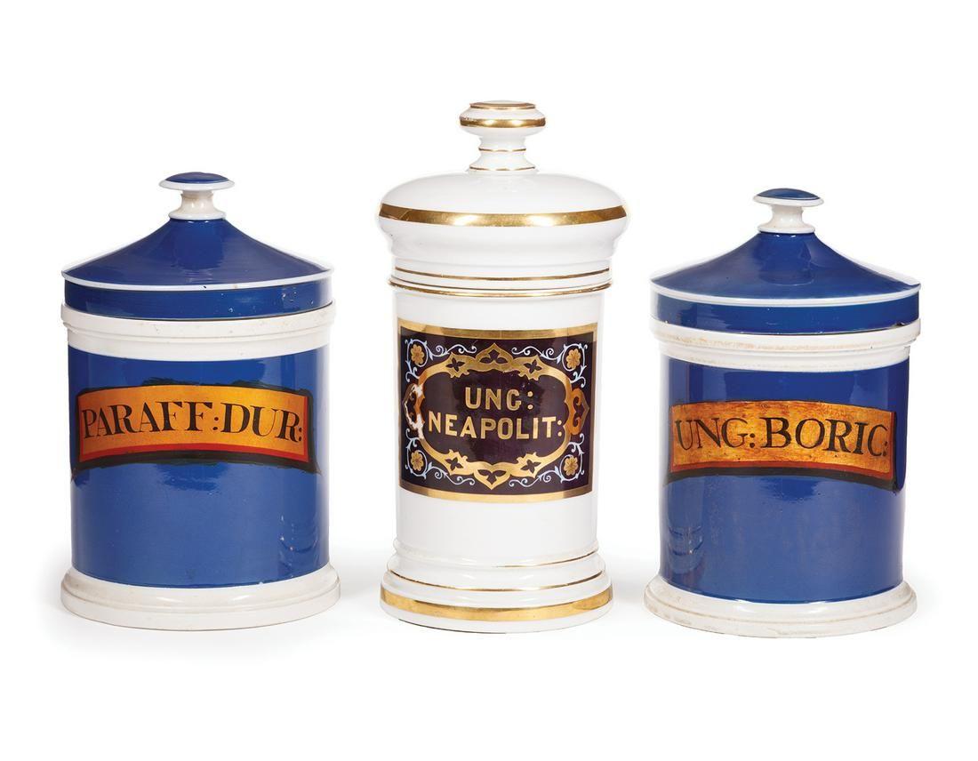 Three Antique Paris Porcelain Apothecary Jars