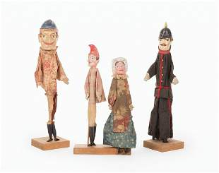 Four Antique English Punch and Judy Puppets