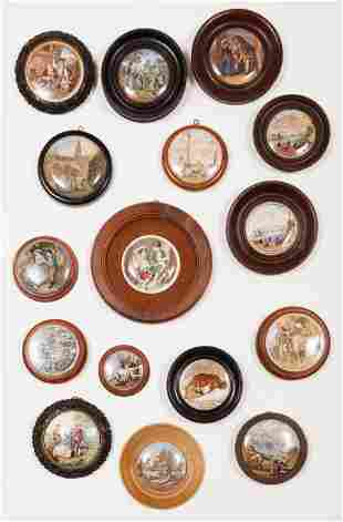 Collection of Victorian Prattware Pomade Jars