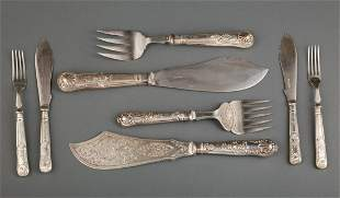 Cased Silver Fish Serving Knife and Fork