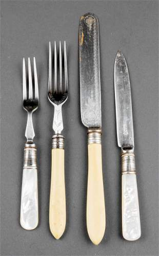 English Mother-of-Pearl and Silverplate Fruit Set