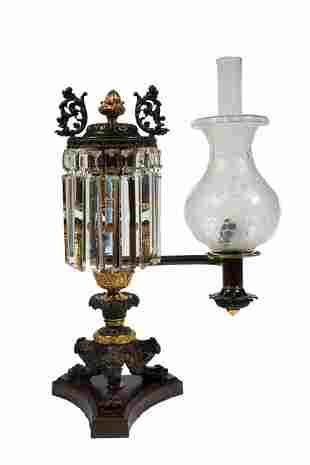 American Gilt and Patinated Bronze Argand Lamp